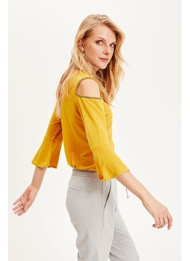 DeFacto Omzu Açık Uzun Kollu Bluz Sarı